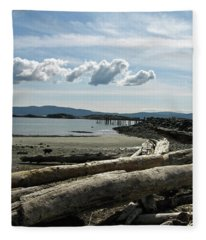 from the shore at Powell River Fleece Blanket
