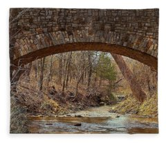 From Under Rock Creek Bridge In Winter Fleece Blanket