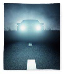 Front Car Lights At Night On Open Road Fleece Blanket