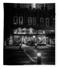 Front Street Crossing In Black And White Fleece Blanket