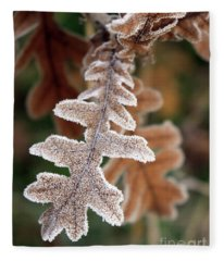 Frost Covered Oak Leaf Fleece Blanket