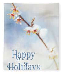 Frosted Witch Hazel Blossoms Holiday Card Fleece Blanket