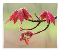 Frosty Maple Leaves Fleece Blanket