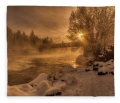 Frosty Riverside Fleece Blanket