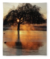 Frosty Sunrise In Bushy Park London 2 Fleece Blanket