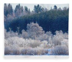 Frosty Trees Of February Fleece Blanket