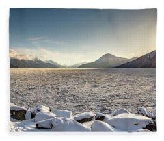 Frozen Fjord Sunrise Fleece Blanket