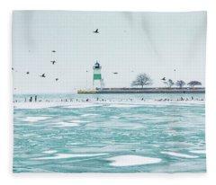 Frozen In Chicago Fleece Blanket