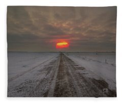 Frozen Road Sunset  Fleece Blanket