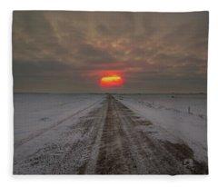 Frozen Road Sunset  Fleece Blanket