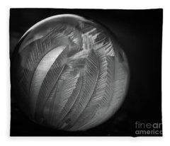 Frozen Soap Bubble - Black And White - Macro Fleece Blanket