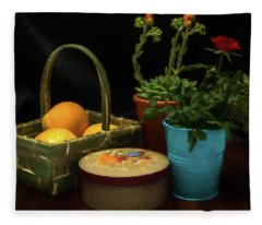 Fruit And Flowers Still Life Digital Painting Fleece Blanket