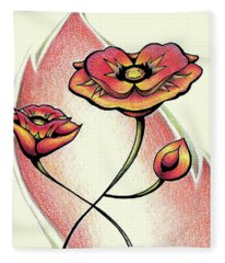 Vibrant Flower 1 Poppy Fleece Blanket