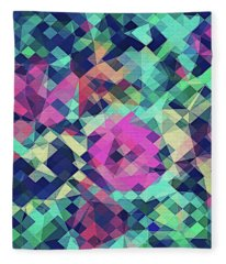 Fruity Rose   Fancy Colorful Abstraction Pattern Design  Green Pink Blue  Fleece Blanket