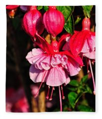 Fuchsias With Droplets Fleece Blanket