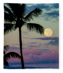 Full Moon And Palm Trees Fleece Blanket