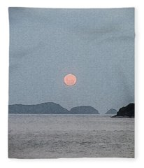 Full Moon At The Beach Fleece Blanket