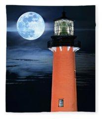 Full Moon Closeup Next To Jupiter Lighthouse In Florida Fleece Blanket