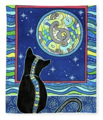 Pisces Cat Zodiac - Full Moon Fleece Blanket