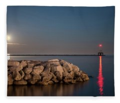 Full Moon In Port Fleece Blanket