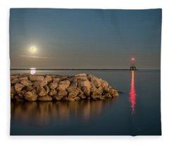 Full Moon In Port Square Fleece Blanket