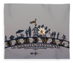 Full Moon In The Boardwalk Arch Ferris Wheel Fleece Blanket