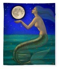 Full Moon Mermaid Fleece Blanket