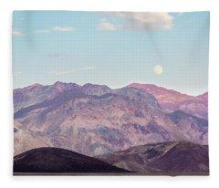 Full Moon Over Artists Palette Fleece Blanket