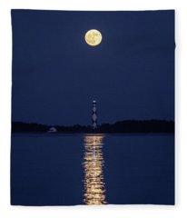Full Moon Over Cape Lookout Light Fleece Blanket
