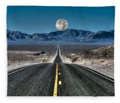 Full Moon Over Death Valley Fleece Blanket