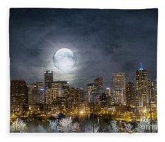 Full Moon Over Denver Fleece Blanket