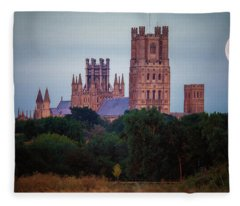 Full Moon Over Ely Cathedral Fleece Blanket