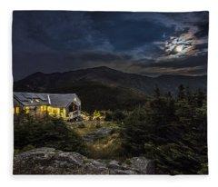 Full Moon Over Greenleaf Hut Fleece Blanket