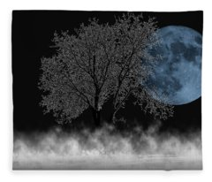 Full Moon Over Iced Tree Fleece Blanket