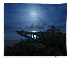 Full Moon Over Juno Beach Pier Fleece Blanket