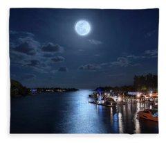 Full Moon Over Jupiter Lighthouse And Inlet In Florida Fleece Blanket
