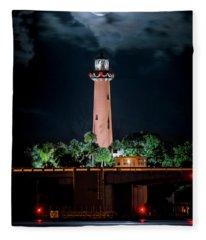 Full Moon Over Jupiter Lighthouse On Christmas Night 2015 Fleece Blanket