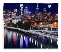 Full Moon Over Philly Fleece Blanket