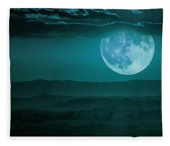 Full Moon Over Tuscany Fleece Blanket