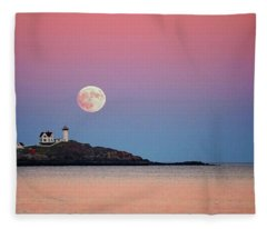 Full Moon Rising At Nubble Light Fleece Blanket