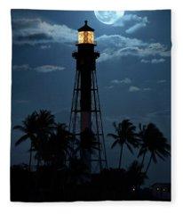 Full Moon Rising Over Hillsboro Lighthouse In Pompano Beach Florida Fleece Blanket