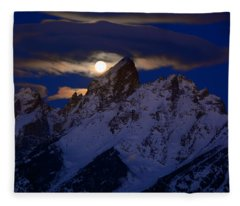 Full Moon Sets Over The Grand Teton Fleece Blanket