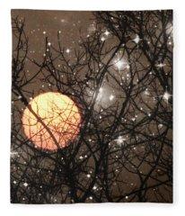 Full Moon Starry Night Fleece Blanket