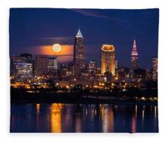 Full Moonrise Over Cleveland Fleece Blanket