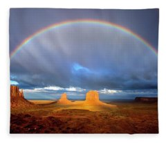 Full Rainbow Over The Mittens Fleece Blanket