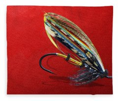 Fully Dressed Salmon Fly On Red Fleece Blanket