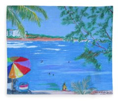 Fun At The Beach Fleece Blanket
