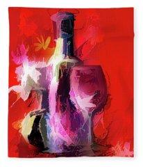Fun Colorful Modern Wine Art   Fleece Blanket