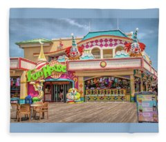 Fun House On The Point Pleasant Boardwalk Fleece Blanket