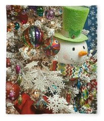 Fun Snowman Holiday Greeting Fleece Blanket